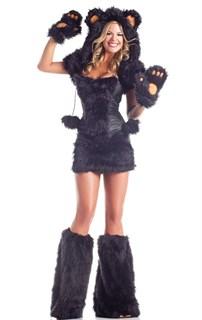 Черный мишка с капюшоном
