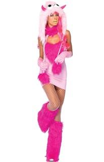Розовый монстрик с капюшоном