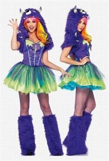 Платье фиолетового мострика с пышной юбкой