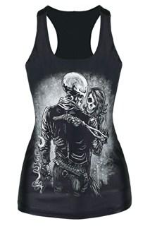 Черная майка со скелетами