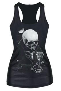 Черная майка со скелетом