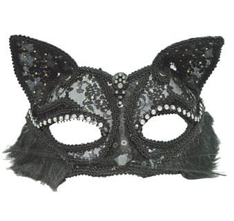 Кружевная маска кошечки. Черная
