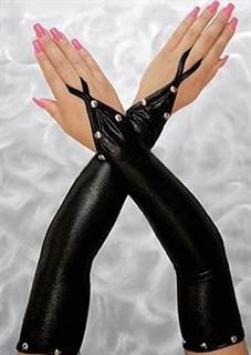 Черные перчатки из винила на один палец
