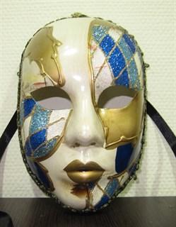Веницианска маска голубая