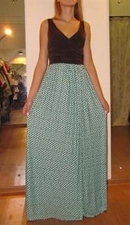 Платье в пол с бирюзовой юбкой в коричневый горох