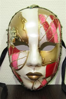 Веницианска маска розовая