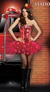 Красное платье пожарной с мерцающей юбкой