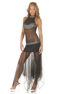 Черное платье в пол с прозрачны подолом для костюма вампира или черного ангела