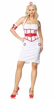 Эротический костюм медсестры с длинным обтягивающим платьем
