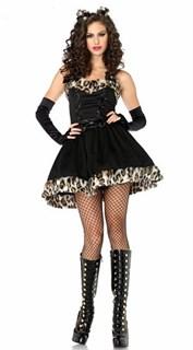Маскарадный костюм шикарной кошечки с леопардовым мехом