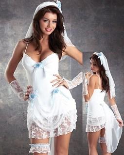 Эротический костюм невесты  с голубыми цветами