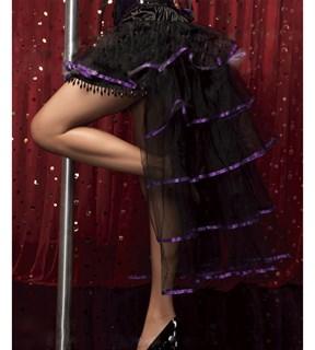 Многослойный шлейф из сетки с фиолетовой лентой с юбкой