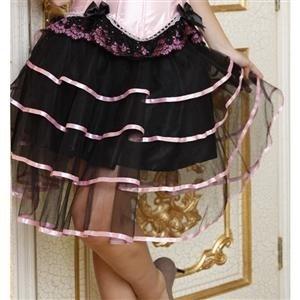 Длинная трехслойная юбка с подкладкой. Розовая отделка