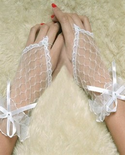 Прозрачные белые короткие перчатки на один палец