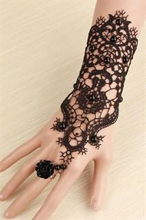 Черное украшение на руку из вязанного кружева. 1 шт