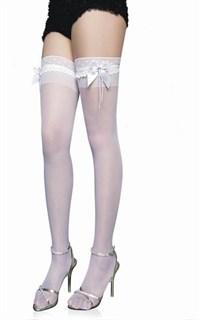 Белые чулки с широкой прозрачной резинкой и бантом