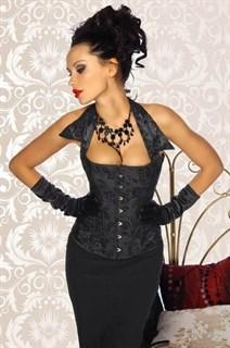 Черный корсет с бархатистым рисунком с воротничком